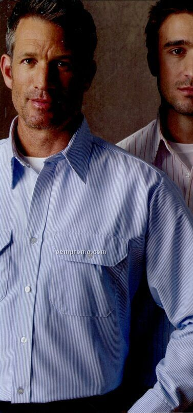 Medium Blue / Light Blue Long Sleeve Durastripe Shirt