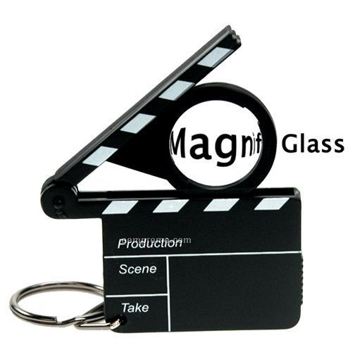 Movie Clapboard W/ Magnifying Glass And Keychain