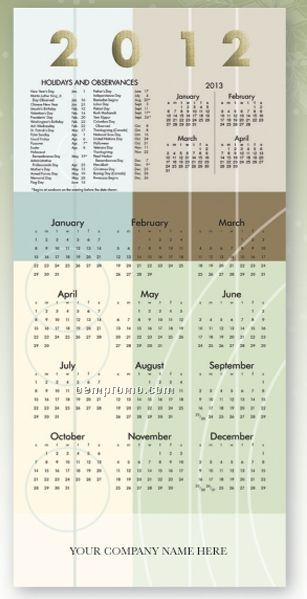 Geometric Beauty Calendar Card W/ Lined Envelope