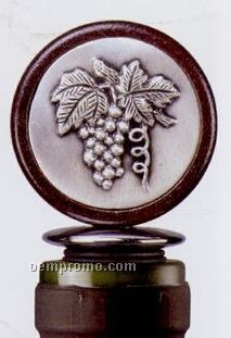 Medallion Wood/ Pewter Bottle Stopper (Grapes)