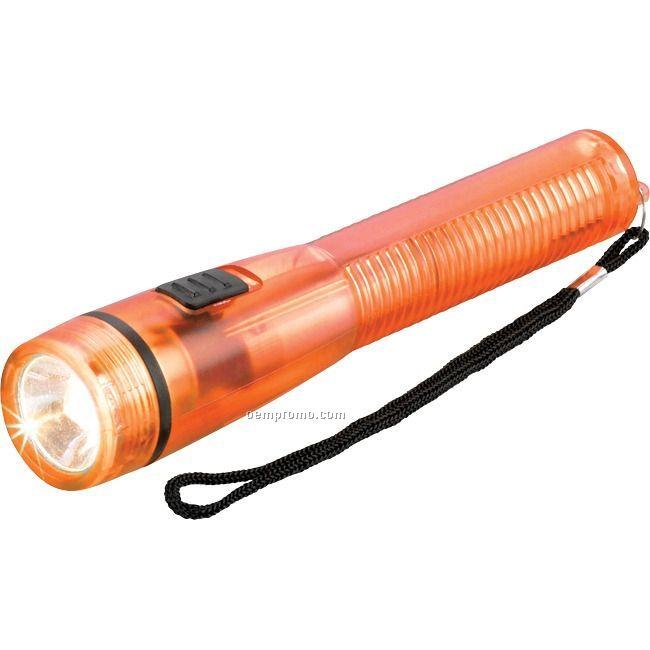 Translucent Orange Plastic Flashlight