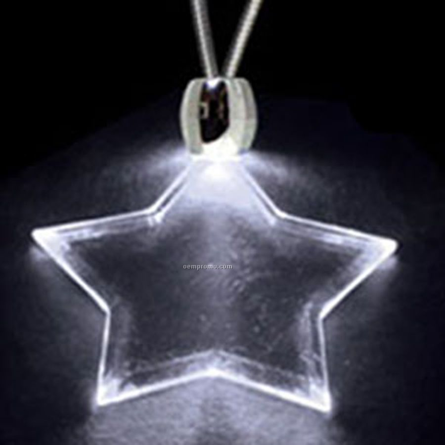 White Acrylic Star Pendant Light Up Necklace,China