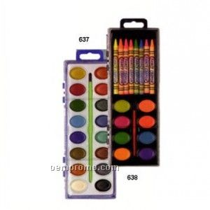 8-color Watercolor Set W/8-color Crayons And Brush