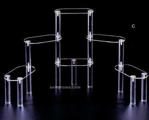 "Clear Oval Multi Level Display Riser W/ 6 Shelves (4""X7"" Shelves)"