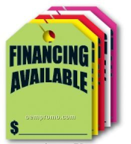 "V-t Fluorescent Mirror Hang Tag - Financing Available (8 1/2""X11 1/2"")"