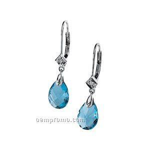 14kw Genuine Swiss Blue Topaz And Diamond Earrings