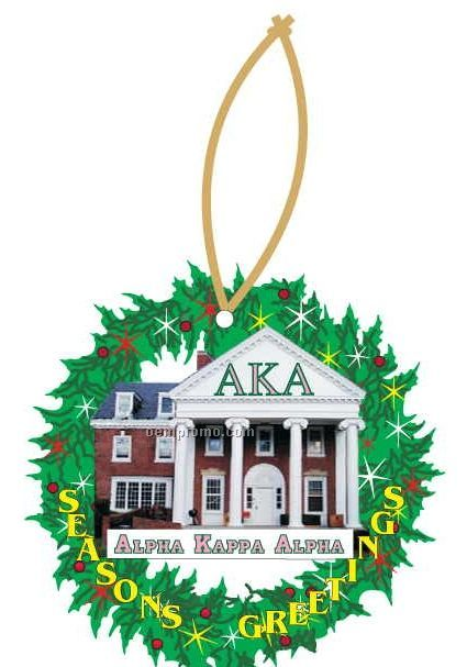 Alpha Kappa Alpha Sorority House Wreath Ornament/ Mirror Back (10 Sq. Inch)