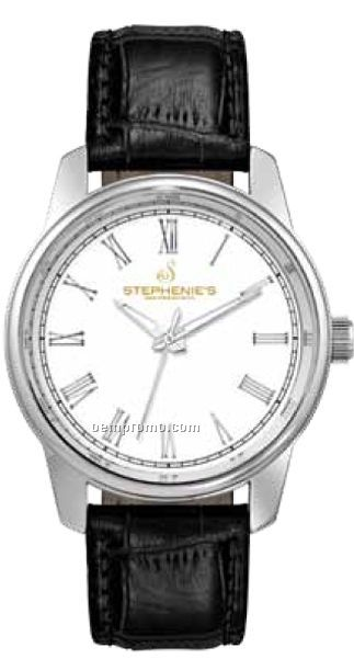 Unisex 41 Mm Metal Case Watch W/ Black Strap & White Large Size Dial