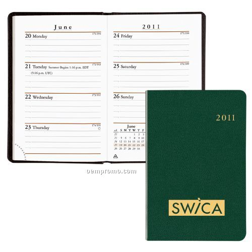 Compact Planner W/ Week & Month Format (Flexhide Cover)