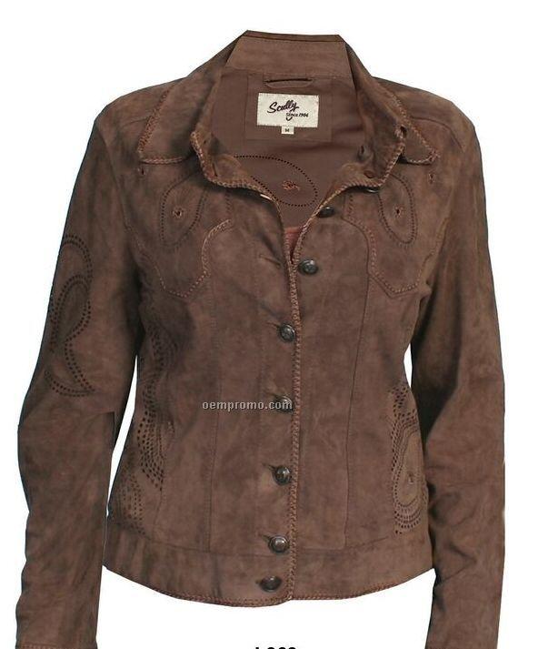 Ladies Lamb Suede Leather Jacket (S-2xl)
