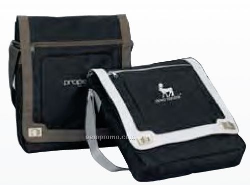 Soren Black/ Nickel Silver Grommet Toggle Vertical Messenger Briefcase