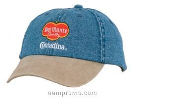2 Tone Unconstructed Washed Denim Cap (Domestic 5 Day Delivery)