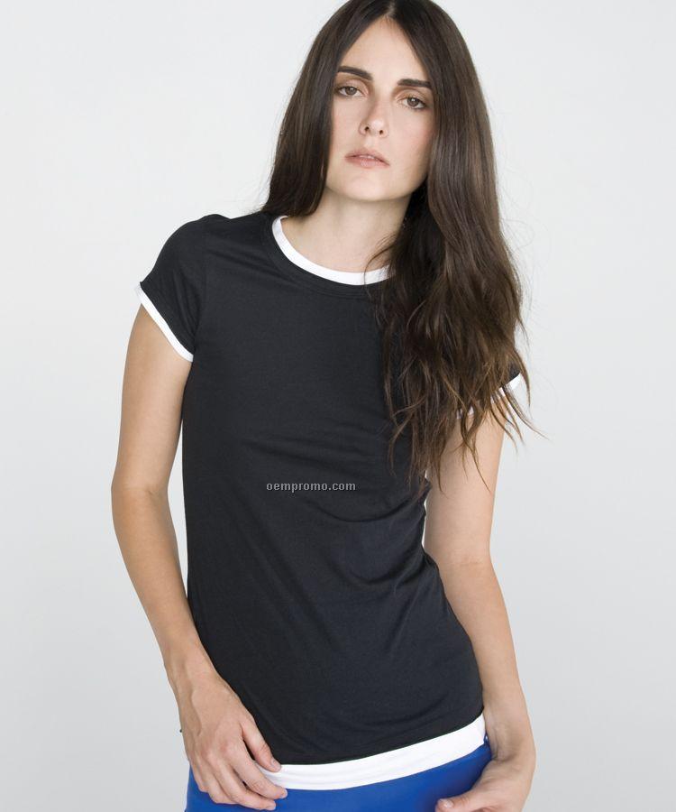 Bella Ladies Sheer Jersey Longer Length 2-in-1 Tee (S-2xl)