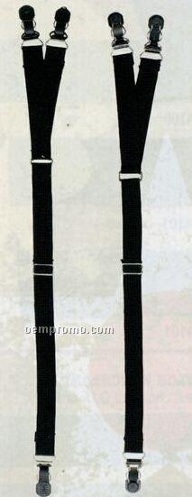 Black Military Y Type Shirt Stay Suspenders