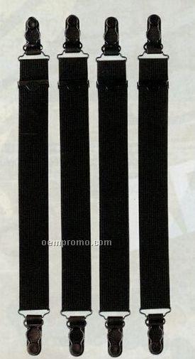 Black Military Straight Shirt Stay Suspenders