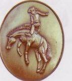 Bronco Rider High Relief Medallion Bolo Tie