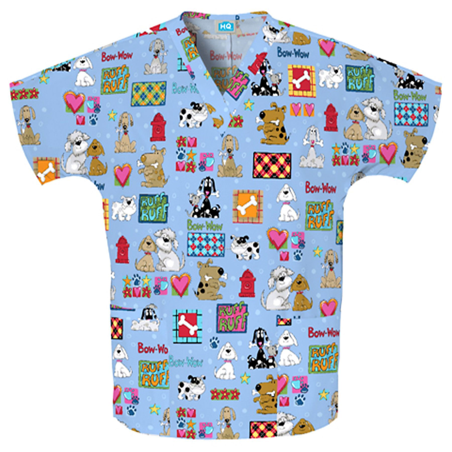 Unisex Two Pocket Top (Bow-wow Print)