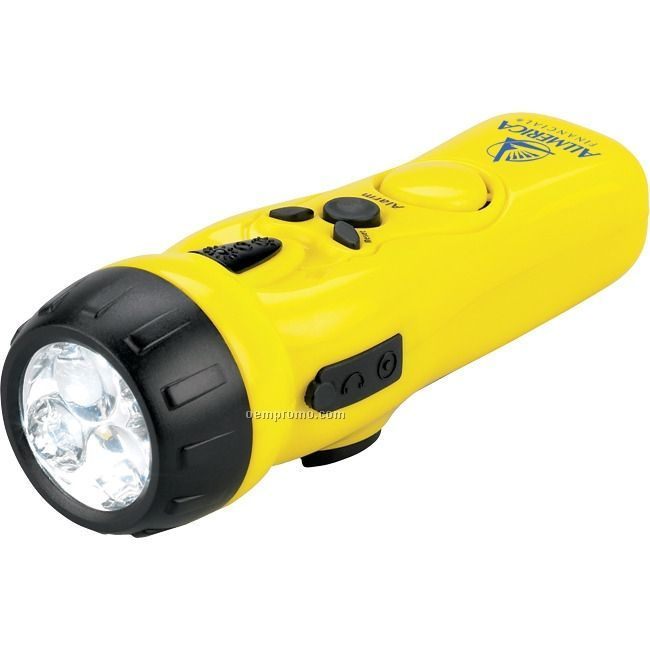 Yellow Crank Flashlight W/ Emergency Radio