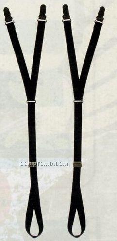 Black Stirrup Style Shirt Stay Suspenders