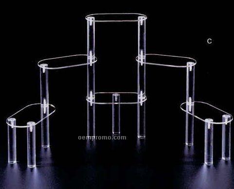 "Clear Oval Multi Level Display Riser W/ 6 Shelves (7""X11"" Shelves)"