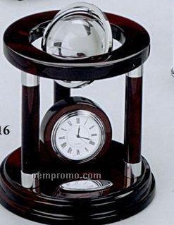 Galaxy Globe Wood Clock W/ Engraving Plate