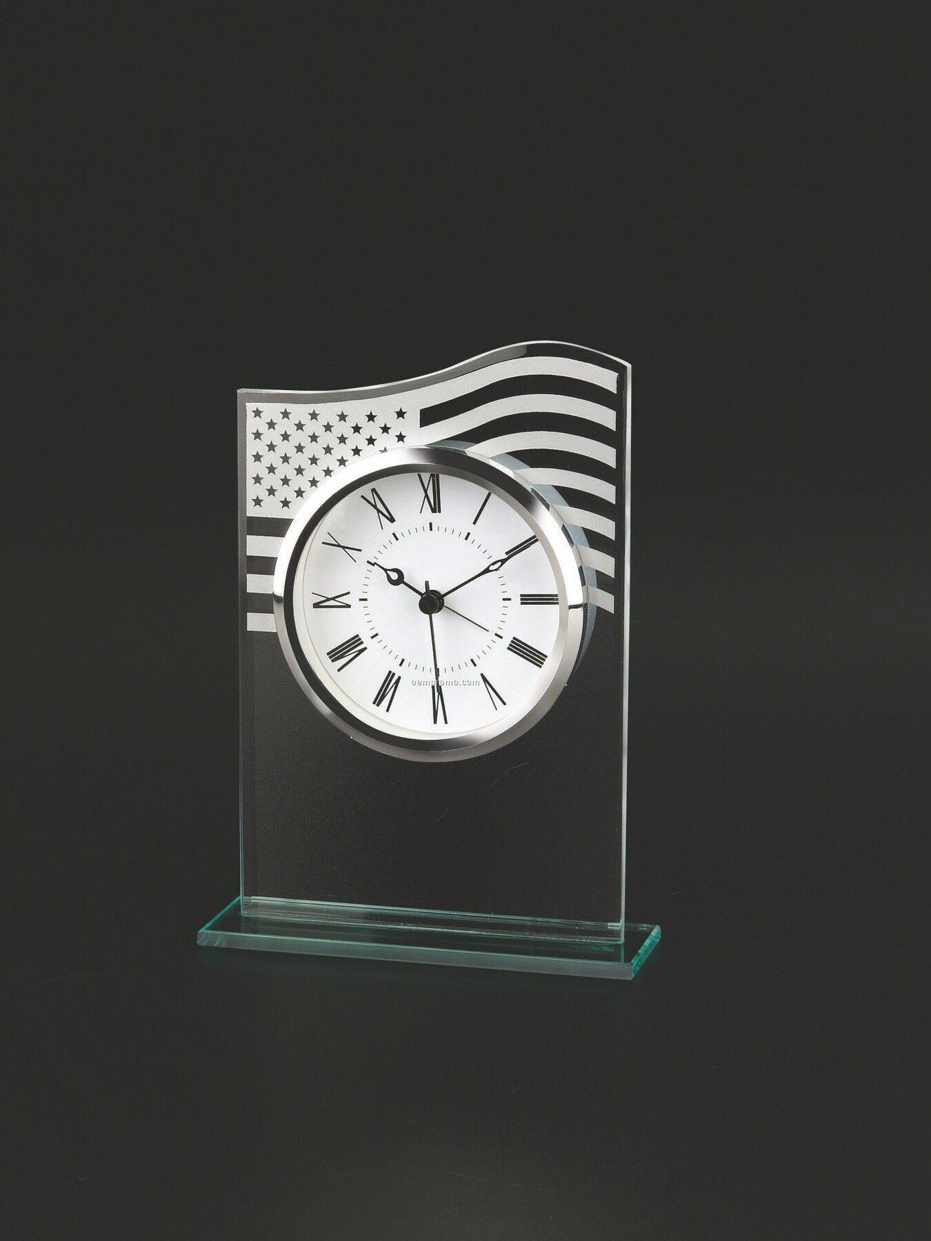 U.s. Flag Glass Alarm Clock