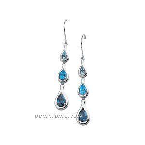 14kw Multi-color Blue Topaz Earrings
