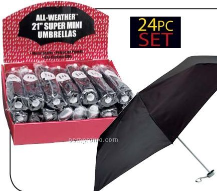 All-weather 24 PC Set Of Black Umbrellas In Display Box