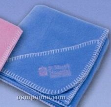 Promotional Fleece Baby Blanket With Pocket And Blanket Stitch