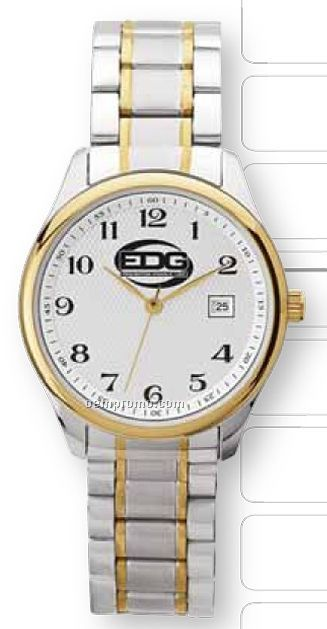 Watch Creations Men's Silver & Gold Finished Watch W/ Patterned Face