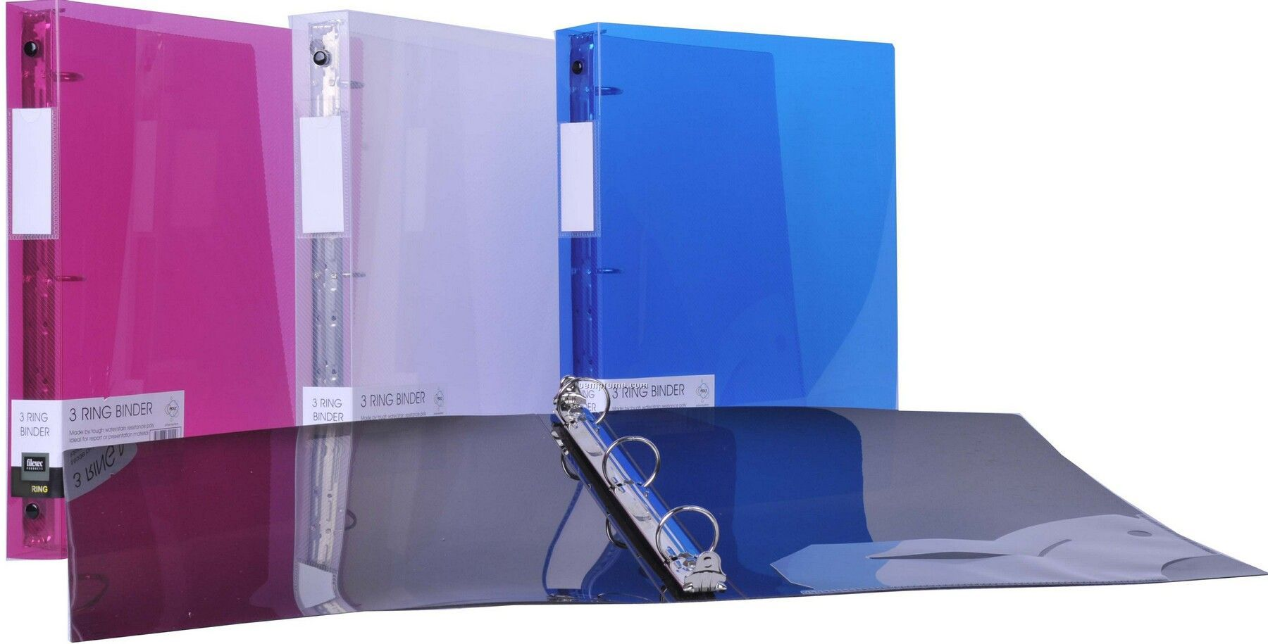 """Assorted Pack Translucent 3-ring Binder With 3"""" Ring"""