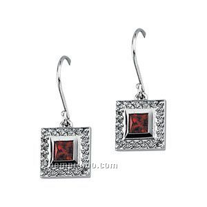 14kw Chatham Created Ruby And 1/5 Ct Tw Diamond Earrings
