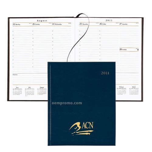 168 Page Weekly Desk Planner W/ Bonded Leather Cover