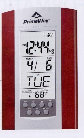 Atomic Calendar Alarm Clock W/ Rosewood Trim