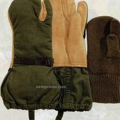 Gi Leather Trigger Finger Military Mittens With Liner