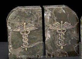 Green Marble Gold Plated Medical Caduceus Bookends