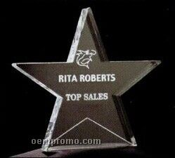 Acrylic Paperweight Up To 16 Square Inches / Star With Flat Bottom