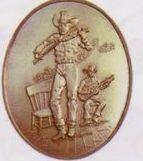Fiddler High Relief Medallion Bolo Tie