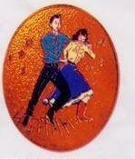 Square Dancer Cloisonne Medallion Bolo Tie