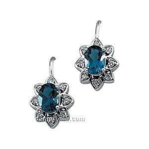 14kw Genuine Topaz And 1/5 Ct Tw Diamond Earring