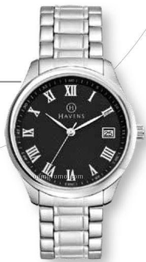 Ladies' Bracelet Style Watch/ 36 Mm Metal Case W/ Black Face & Date Display