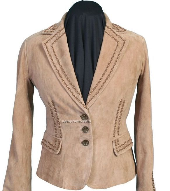 Ladies Lamb Suede Leather Jacket (S-2xl)