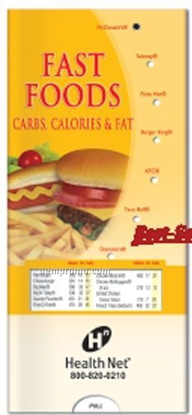 Pocket Slider Chart - Fast Foods, Carbs, Calories And Fat