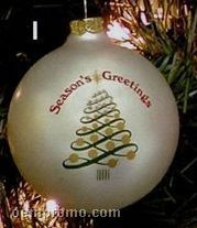 "Seasons Greetings Christmas Tree Stock Ornament Design I (2-5/8"")"