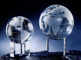 """Crystal Globe Award With Meridian On Clear Or Rainbow Base (3 1/8"""")"""