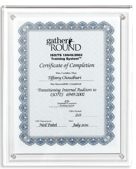 Clear On Clear Blank Acrylic Certificate Holder