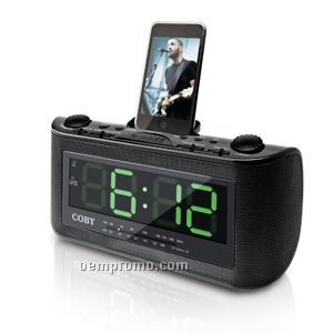Coby AM/FM Clock Radio With Ipod Docking Stereo Speaker System