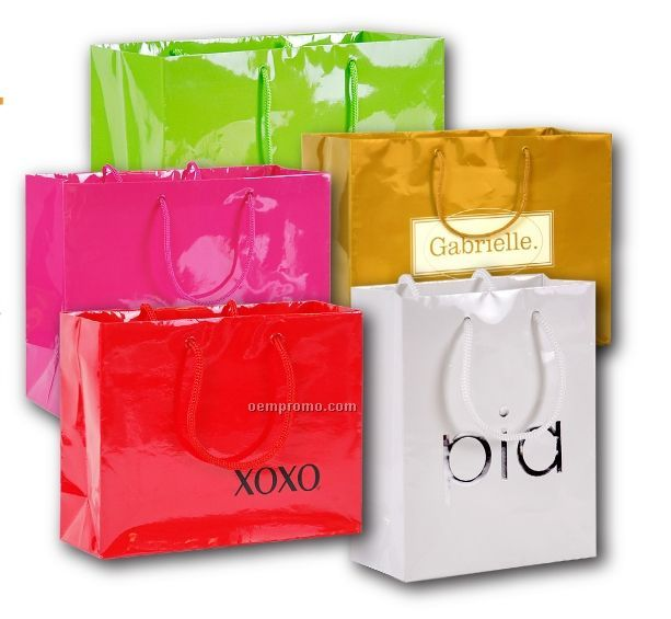 "Hot Stamped Laminated Paper Euro Shopping Bag (9""X3""X7"")"