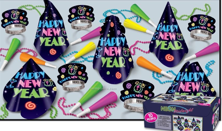 Neon Midnight Happy New Year Assortment For 10