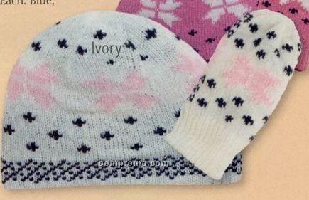 Toddler Chenille Hat & Mitten Set W/ Fleece Lining